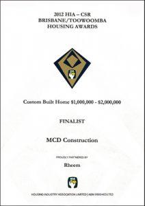 2012 HIA-CSR Brisbane, Toowoomba Housing Awards, $1million - $2million (Black mi)