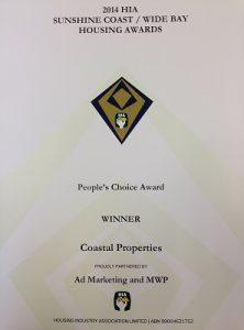 2014 HIA-Sunshine Coast Wide Bay Housing Awards, Peoples Choice Award