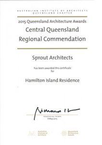 2015 QLD Architecture Awards - Regional Commendation - Hamilton Island Residence