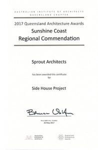 2017 QLD Architecture Awards - Reginal Commendation - Side House Project